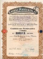 UNIONE  MANIFATTURE SOCIETA' PER AZIONI-IN PARABIAGO(MILANO)-CERTIFICATO NOMINATIVO DI DIECI AZIONI - Industrie