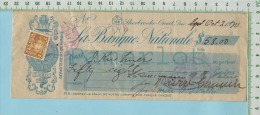 Cheque 1920 Avec Timbre Taxe  FWT8 War Tax 2 Cents Succession Sherbrooke P. Quebec Canada - War Tax