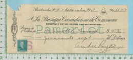 Cheque 1951 Avec Timbre #303 3 Cents BanqueCanadienne De Commerce Sherbrooke P. Quebec Canada - Cheques & Traverler's Cheques