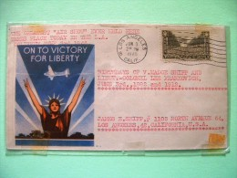 USA 1946 Patriotic Cover Los Angeles To Los Angeles - Air Show In L.A. - Victory For Liberty - Plane - U.S. Troops Pa... - Brieven En Documenten