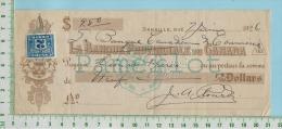 Cheque 1926 Avec TimbreTaxe FX36 2 Cents Banque Canadienne De Commerce Danville P. Quebec  Canada - Chèques & Chèques De Voyage