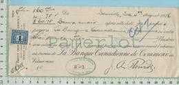 Danville Billet1926 ( $60.00 à 7% Avec TimbreTaxe FX39 Banque Canadienne De Commerce  Quebec  Canada - Chèques & Chèques De Voyage