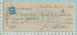 Danville Quebec Canada Cheque 1926 Avec TimbreTaxe FX39 4 Cents Canadian Bank Of Commerce - Chèques & Chèques De Voyage