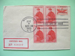 USA 1955 Registered FDC Cover - Air Mail - Plane - Certified Mail Stamp - Postman (Scott FA1) - United States