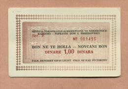 BILLET  -  MONNAIE DE NECESSITE  -  1  DINAR  / DINARE  /  DINARA  :  KOSOVO -  ( YOUGOSLAVIE ) - Yugoslavia