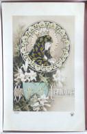 Cpa LITHO Art Nouveau Illustrateur Azambre ?  Femme Fete Jeanne Medaillon Dragons Chardon Lys Paillettes Dorure+- 1910 - Prénoms