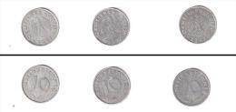 Allemagne  //  lot de 3 x 10 Reichspfennig  //  1941 A - 1941 F - 1942 A