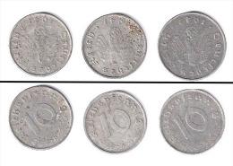 Allemagne  //  lot de 3 x 10 Reichspfennig  //  1942 A - 1941 A - 1941 D