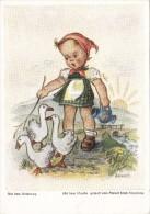 """Postkarte, Nach Einem Mit Dem Mund Gemalten Original Von Arnulf Erich Stegmann,""""Auf Dem Heimweg"""" - Illustrators & Photographers"""
