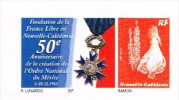 Nouvelle Caledonie Timbre Personnalise 50 Anniversaire Ordre National Merite Genral De Gaulle France Libre Neuf 2013 TB - Nuova Caledonia