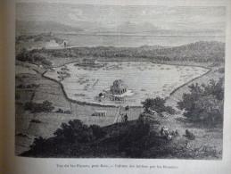 Vue Du Lac Fusaro , Prés De Baia , Culture Des Huitre Par Les Romains , Gravure De 1877 - Documenti Storici