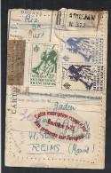 K442 - AOF Recommandé Abidjan Côte Ivoire Envoi Douane Riz étiquette Colis Postal Sur CP DABAKALA Tam Tam Djiminis - Côte D'Ivoire (1960-...)