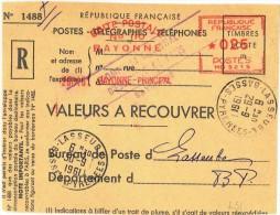 S920. EMA VALEURS A RECOUVRER - BOITE POSTALE BAYONNE  - LASSEURE - 1961 - Freistempel