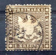 1861 Thin Paper (0.07mm) Perf.13.5 - Mi.16y (Yv.16Aa, Sc.23) Used (F-VF) - Wurtemberg