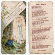 Image Pieuse Bernadette Devant La Vierge à La Grotte De Lourdes, éd. Bonamy N° 1080 - Images Religieuses