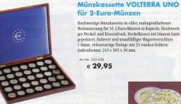Mahagoni-Kassette Für 2€-Gedenkmünzen Neu 30€ Zum Einlegen Von Insgesamt 35 EURO-Münzen,Kapseln,Samt-Auskleidung,1-lagig - Zubehör