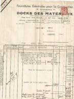 IRIS 1F50 SUR FACTURE DOCKS DES MATERIAUX CAD DRAGUIGNAN 16/6/45 POUR LORGUES - 1939-44 Iris