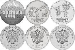 SET 25 Rubles X 3psc Sochi 2014 (Talismans, Mountains, Luchik&Snejinka) UNC - Coins