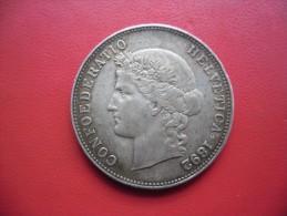 ECU SUISSE 5 FRANCS 1892 Argent - Helvétiabust  Trés Belle Patine @ Poids 25 Grammes - Svizzera
