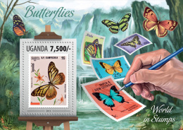 ugn13301b Uganda 2013 SOS Stamp on Stamp Butterflyies s/s