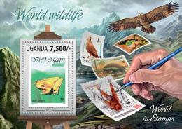 ugn13308b Uganda 2013 SOS Stamp on Stamp World Wildlife WWF s/s Forg Eagle Butterfly Monkey