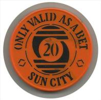 """South Africa - Sun City - """"Only Valid As A Bet"""" - R 20 Casino Chip - Used - Casino"""