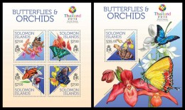 SOLOMON Isl. 2013 - Butterflies & Orchids. M/S + S/S - Orquideas