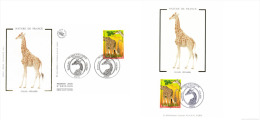 France 2000 YT 3333 Mi. 3474 FDC And MC CM Maximum Card Silk Illustration, Giraffe Girafe Giraf - Giraffe