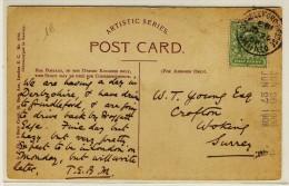 "Postcard Of  Grindleford With Half Penny Green Stamp + "" GRINDLEFORD.BRIDGE  /  SHEFFIELD /  1908 "" - Marcophilie"