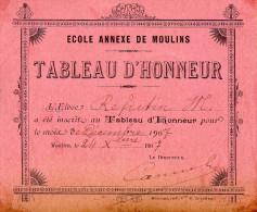 Billet D'honneur De L'école De MOULINS En 1907. - 219 - Diplômes & Bulletins Scolaires