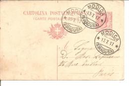 ENTIER POSTAL ITALIEN 10 CENTIMI 1917   MODICA - Lotti E Collezioni