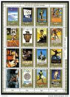 UMM AL QIWAIN History Of Olympics Block Of 16 Stamps Used - Olympische Spiele