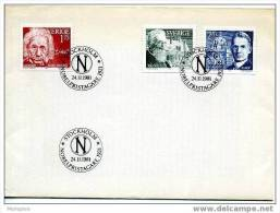 SWEDEN 1981 FDC 1921 Nobel Prize Winners Einstein, A. France, Writer, F. Soddy Chemist Scott 1387-9   Mi Nr 1175-7 - FDC