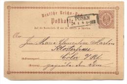 GS Deutsche Reichspost 1875 Von Posen Nach Cöln - Allemagne