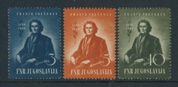 BL4-152 YOUGOSLAVIA 1949 YV 512-514 FRANC PRESEREN, ECRIVAIN, POET, WRITER, SCHRIFTSTELLER. MNH, POSTFRIS, NEUF**.. - Ecrivains