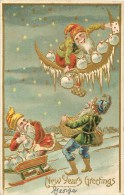 NEW YEAR´S GREETING - GNOMES ON MOON, ON SLED AND GATHERING LOSE COINS -  EMBOSSED V/F VINTAGE POSCARD - Nouvel An