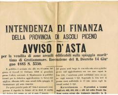 INTENDENZA FINANZA  ASCOLI PICENO - AVVISO D´ASTA DEL 11.2.1886 (GROTTAMMARE - RIPATRANSONE) - Documenti Storici