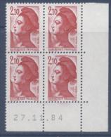 N° 2319 Liberté 2,10f - Coin Daté 27-11-84 - Esquina Con Fecha
