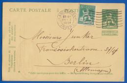Belgien; Postkaart 5c + 5c; 1914 Nach Deutschland - Ganzsachen