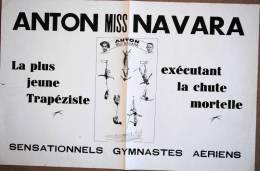 AFFICHE DE CIRQUE ANTON MISS NAVARA GYMNASTES AERIENS - Affiches