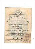 Doodsprentje 1835 - WEERT - Joannes STROUS   -  (kopergravure in PERKAMENT en afbeelding S.THOMAE)