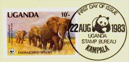 Msc004Kb WWF OLIFAUNA OLIFANTEN DIKHUIDEN ZOOGDIEREN AFRICAN ELEPHANTS *MISPRINT* MAMMALS ELEFANTEN UGANDA 1983 CARD - Elefanten