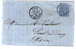 France TP Sage 68 Type 1 - CAD Paris 15-08-1876 Pour Rouhier Pont De Pany - Lettre LAC Signée Girard ? - 1849-1876: Période Classique