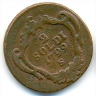 ITALY , GORIZIA , 2 SOLDI 1799 S, UNCLEANED COIN - Gorizia