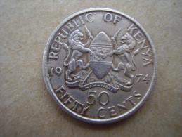 KENYA 1974  FIFTY CENTS   KENYATTA Copper-Nickel  USED COIN In  GOOD CONDITION. - Kenya