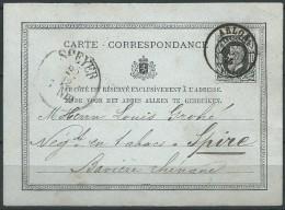 .B.14.FEBR.091. OUDE BRIEFKAART VAN BELGI'E  NAAR  SPEYER.  1875. - 1865-1866 Profile Left