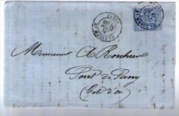 France TP Sage 68 Type 1 - CAD Paris 19-08-1876 Pour Rouhier Pont De Pany - Lettre LAC Signée Girard - 1849-1876: Période Classique