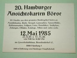 20 Hamburger Ansichtskarten Börse 12 Mai 1985 ( Zie Foto Voor Details ) !! - Bourses & Salons De Collections