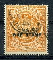ANTIGUA   1918    1 1/2d  Orange    WAR STAMP  In  Black    USED - Antigua And Barbuda (1981-...)