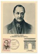FRANCE => Carte Maximum => 35F Auguste COMTE (Mathématicien Et Philosophe) - 1957 Montpellier - 1950-59